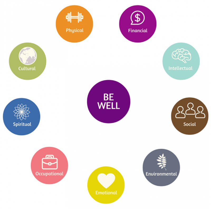 colorful dots representing each wellness model dimension